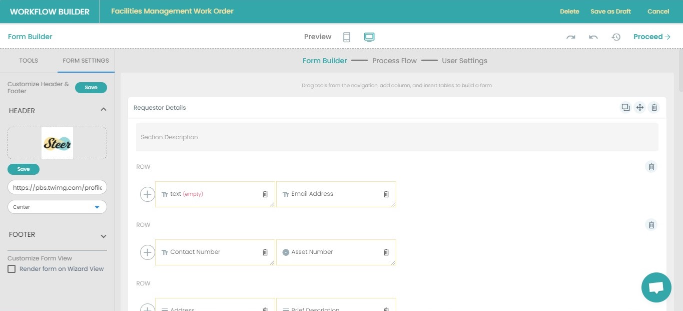 Brand your forms by customizing headers and footers